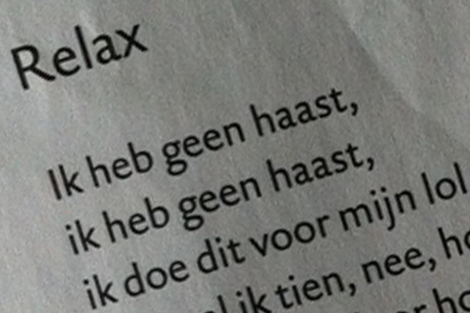 Publicatie Poeziekalender 2010 Gedicht Relax © 2009 Fiet van Beek