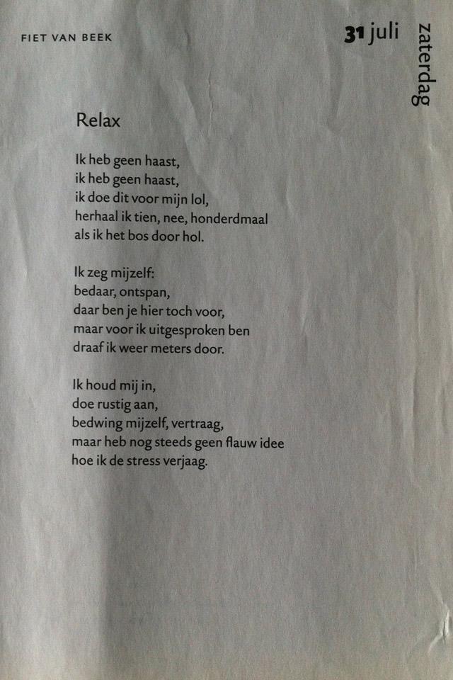 Uit: Dagkalender van de poëzie 2011 Gedicht Relax © 2009 Fiet van Beek